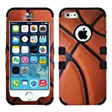 iPhone 5S Case, iPhone 5 Case Case Loca Hybrid Impact Shockproof Cover Hard Armor Shell and Soft Silicone Skin Layer With Stylus Pen (Basketball + Black)