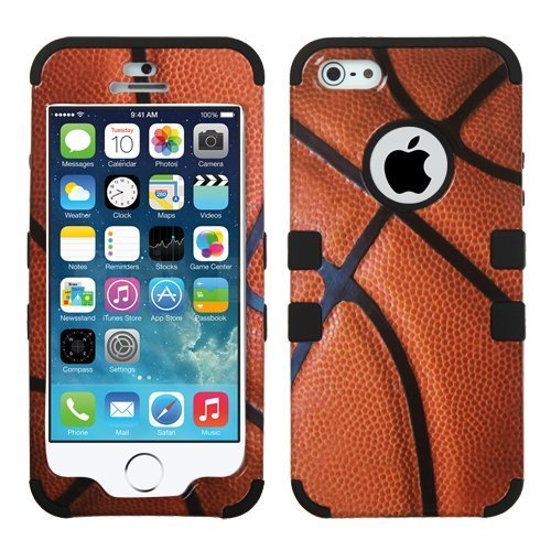 iPhone 5S Case, iPhone 5 Case Case Loca Hybrid Impact Shockproof Cover Hard Armor Shell and Soft Silicone Skin Layer With Stylus Pen (Basketball + Black) - Basketball Case Pack