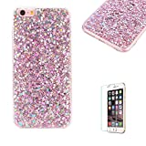 Funyye Bling Glitter Diamond Case for iPhone 6/6S,Luxury Sparkle Crystal Silicone Gel TPU Slim Fit Protective Bumper Case for iPhone 6/6S with Free Screen Protector,Pink