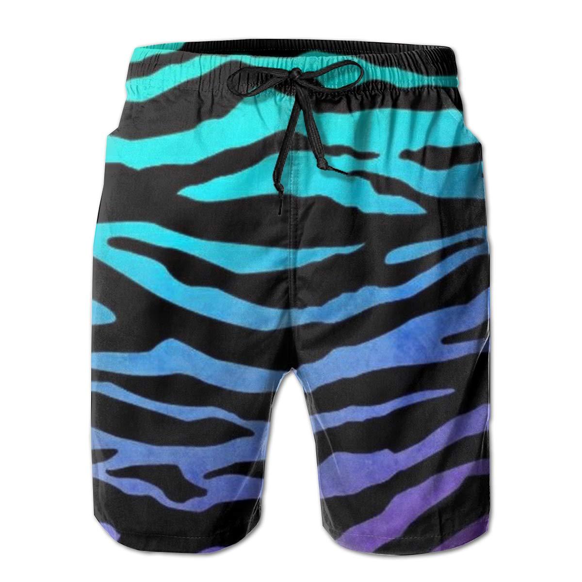 AMRANDOM Boys Board Shorts Purple Blue Green Zebra Quick Dry Swim Surf Trunks