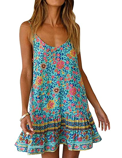 Womens Boho Floral Printed Dress Summer Cami Sleeveless Adjustable Strap Beach Mini Dress With Pockets by Qearal