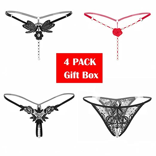 Amazon Women's Sexy Pearl Thong Crotchless GString 60 Patterns Custom Lingerie Patterns