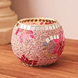 AOLVO Round Glass Candle Holder, Votive Candle Stands Hexagonal Flower, Handmade Artwork Birthday Home Decor Christmas Wedding Party, Pink Color