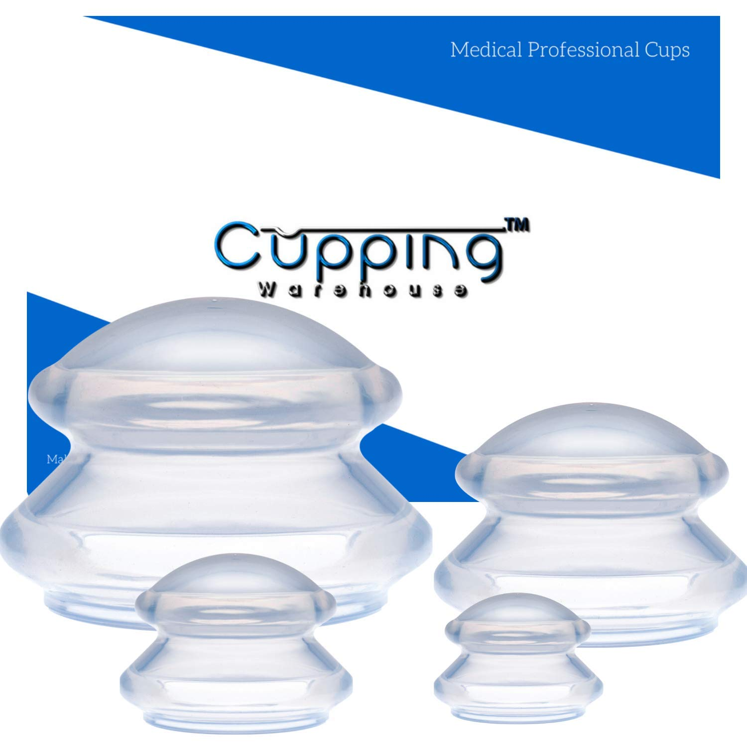 Cupping Warehouse Supreme 4 DEEP PRO 6065 Sturdy Harder Rigid Cups for Advanced Treatments - Professional Cupping Therapy Sets Chinese Silicone Massage Suction Cups for Joint, Pain, Muscles, Fascia