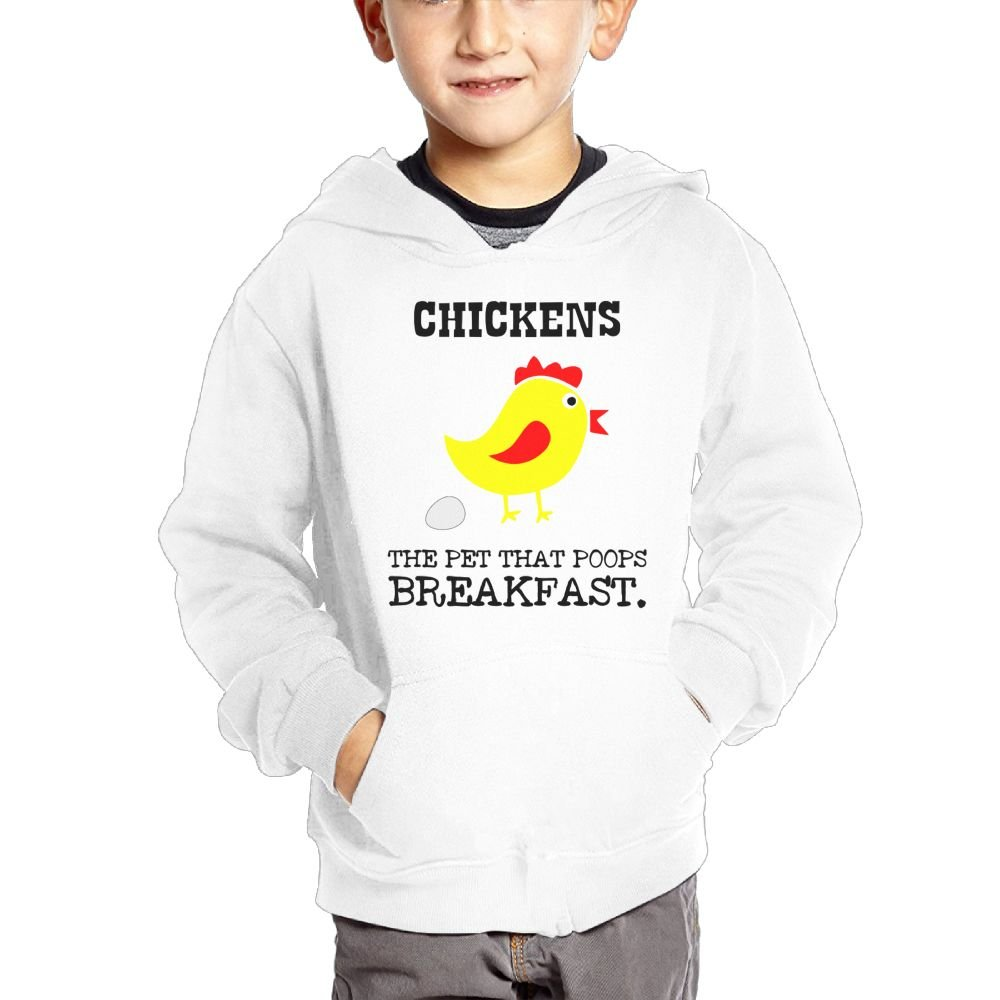 Joapron Chickens The Pet That Poops Kids Long Sleeve Pocket Pullover Hooded Sweatshirt Ash
