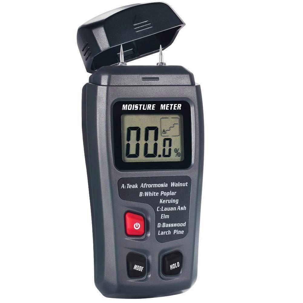 Zerodis Wood Moisture Meter, 2 Pins Portable Digital Wood Moisture Detector with HD LCD Display/ 4 Types of Wood Species / ± 0.5% Accuracy/Range 0% - 99.9%