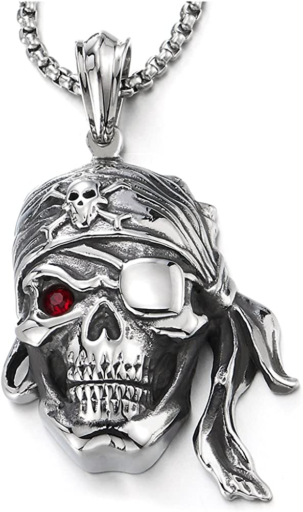 COOLSTEELANDBEYOND Mens Steel Viking Pirate Skull Pendant Necklace with Red Cubic Zirconia and 30 inches Wheat Chain