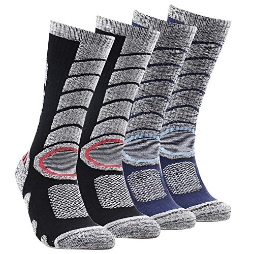 Mens Women Ski Cotton Socks High Performance Thick Warm Wicking Crew Socks for Snowboard Hiking Sports(Long, Black&Blue)