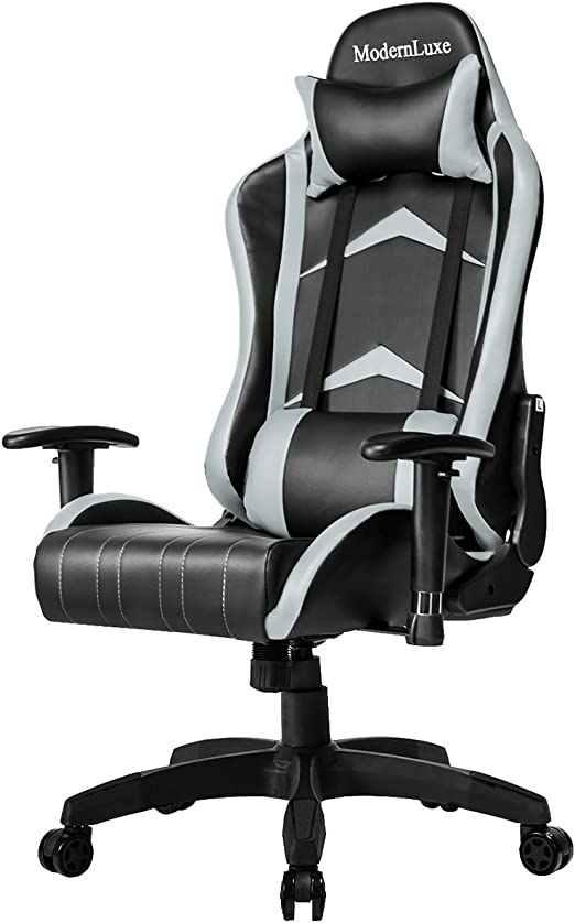 Modern Luxe Racing Style PU Leather Office Chair Swivel Computer Gaming  Chair Executive Reclining Chair (Grey)