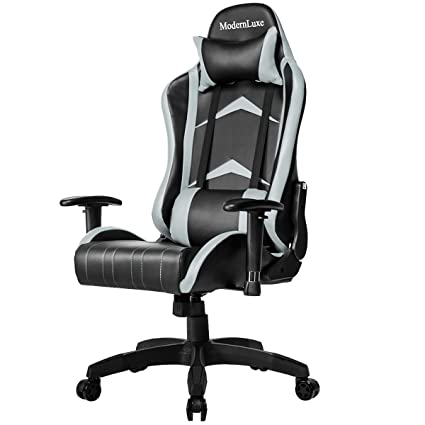 Modern Luxe Racing Style PU Leather Office Chair Swivel Computer Gaming  Chair Executive Reclining Chair (
