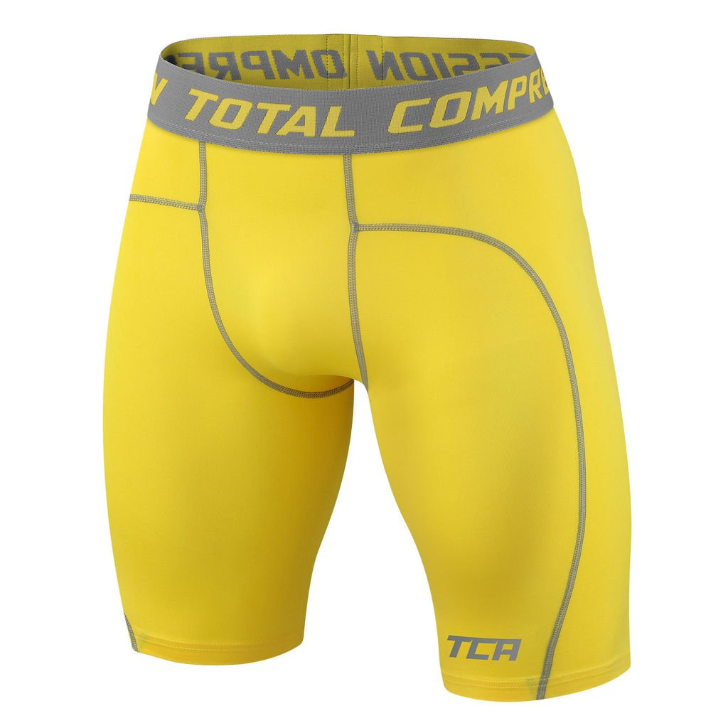 TCA Men's Boys Pro Performance Compression Base Layer Thermal Under Shorts - Sonic Yellow 10-12 Years by TCA