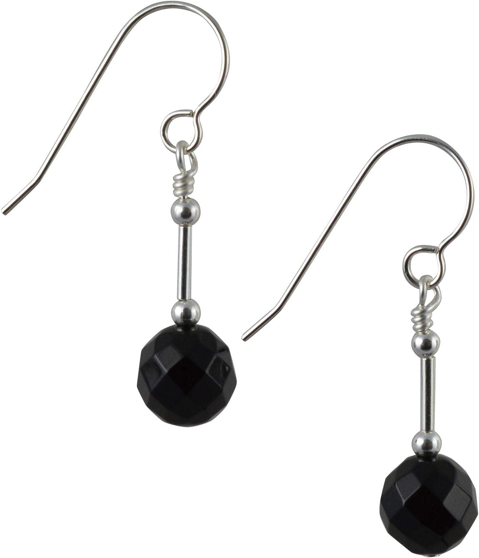 Facetado Ónix Negro piedra y de plata de ley pendientes de gota con la caja de regalo