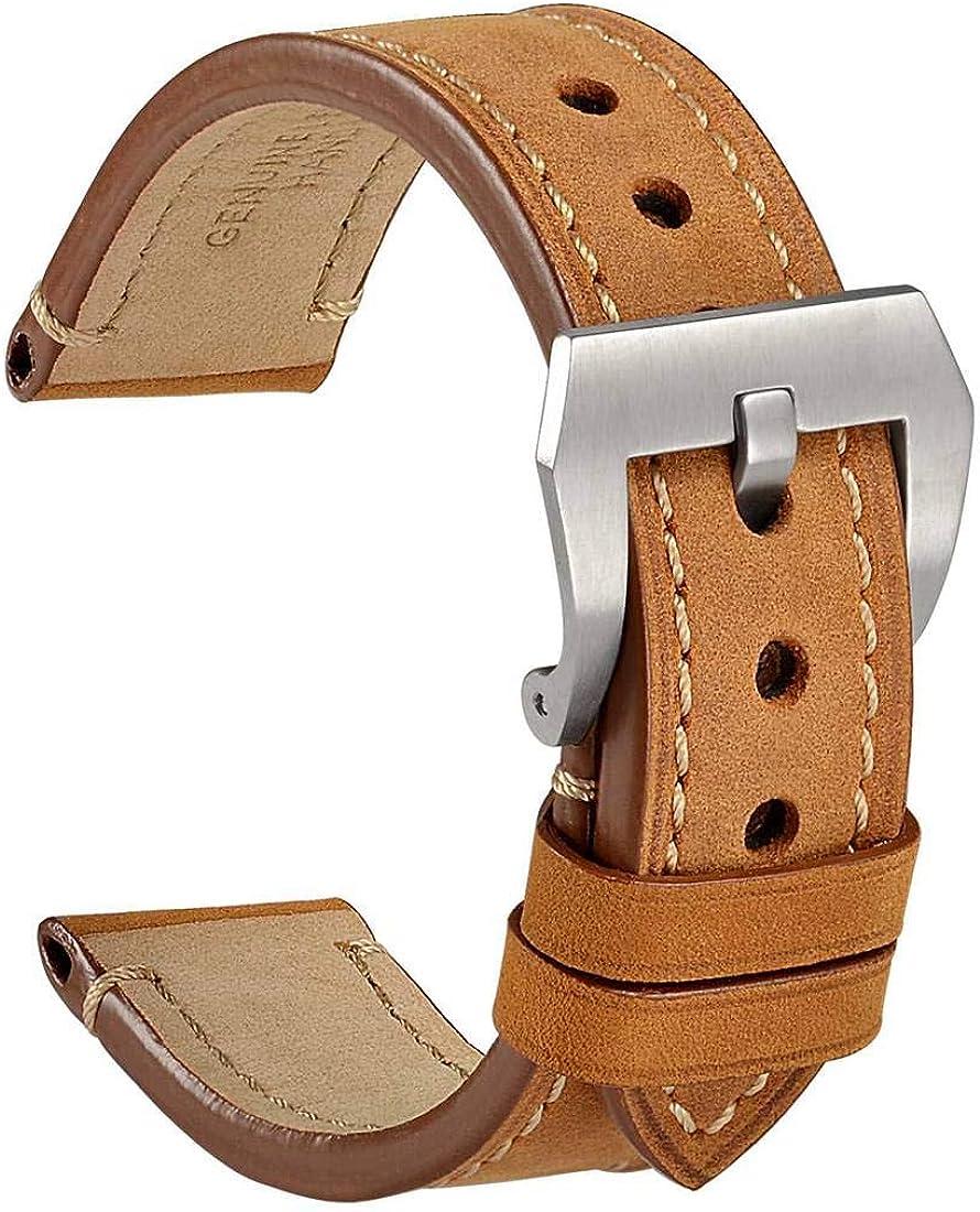 WOCCI Correa Reloj Vintage de Cuero Genuino, Correa de 18mm 20mm 22mm 24mm, Ideal para Hombres
