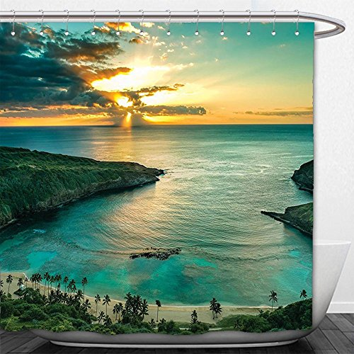 Beshowere Shower Curtain Hawaiian Decor Sunrise Over Hanauma Bay On Oahu Hawaii SunbeamThrough Dark CloudShoreline for Bedroom Living Room Dorm Long and - Oahu Macys