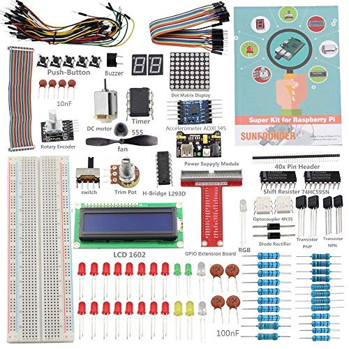 SunFounder Raspberry Pi 3 Model B+ Starter Kit Project Super Kit for RPi 3B+ 3B 2B B+ A+ Zero Including GPIO Breakout Board Breadboard LCD DC Motor LED RGB Dot Matrix 73 Page Manual User Guide