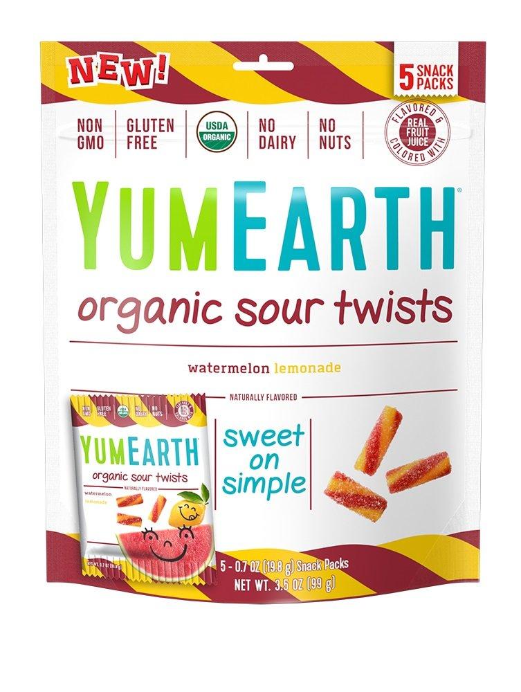 YumEarth Organic Gluten Free Sour Twists 5 Snack Packs, Watermelon Lemonade,12 Count 3.5 oz