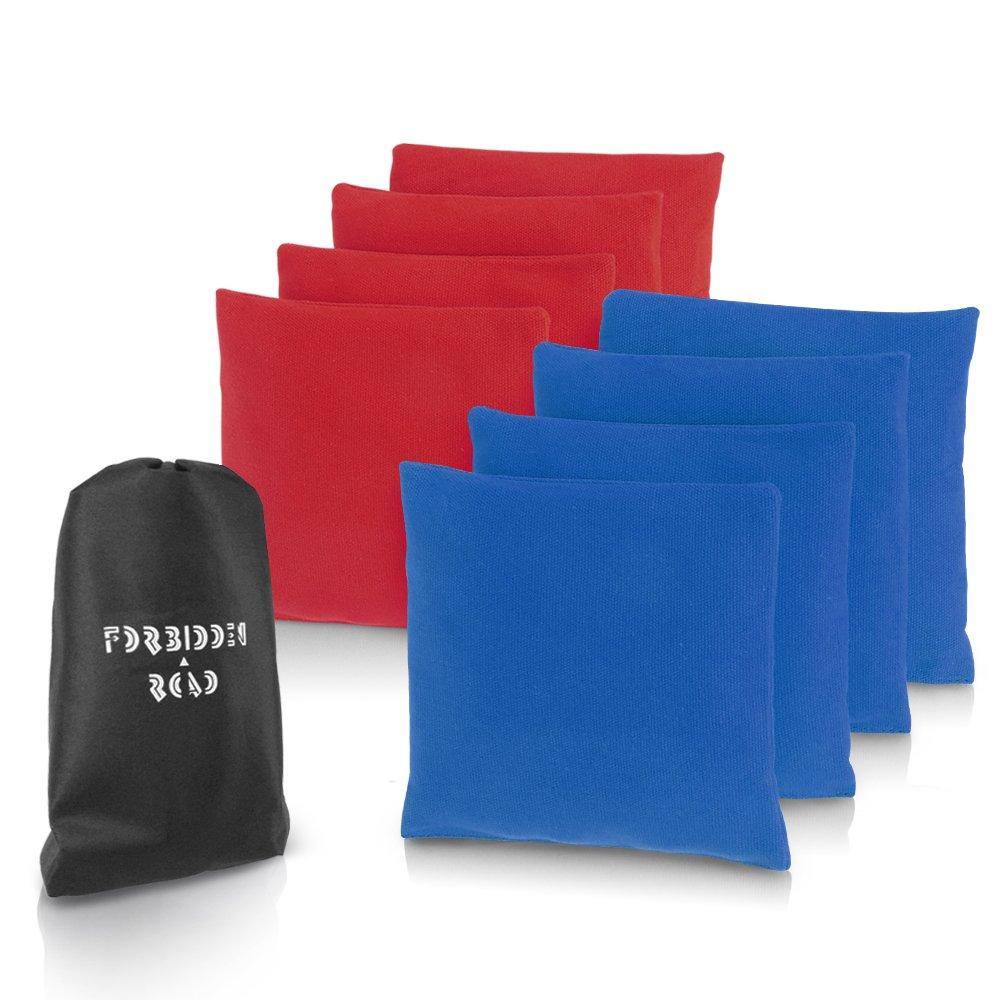 Forbidden Roadコーンホールバッグ 8個セット 投げて遊ぶ遊び ダックキャンバス素材のカバー PP樹脂製ペレット キャリングバッグ付き B078XD9KBK  Red & Dark Blue 14OZ