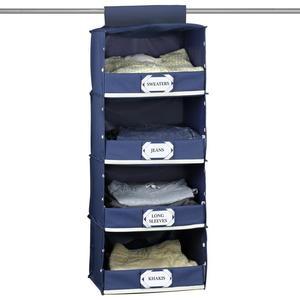 Beautiful Amazon.com: G.U.S. Deluxe 4 Shelf Hanging Closet Storage Organizer With  Collapsible Front Lid, Navy Blue, Made With Extra Sturdy Fiber Board For  Storing ...