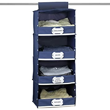 Amazoncom Gus Deluxe 4 Shelf Hanging Closet Storage Organizer