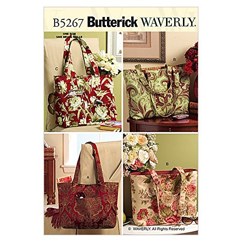 Butterick Accessories Easy Sewing Pattern 5267 Tote Bags in 3 Variations