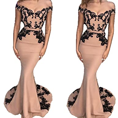 188b07a5b7d Sexy Blush Pink Mermaid Lace Off The Shoulder Long Prom Dresses 2019 Evening  Formal Party Gown