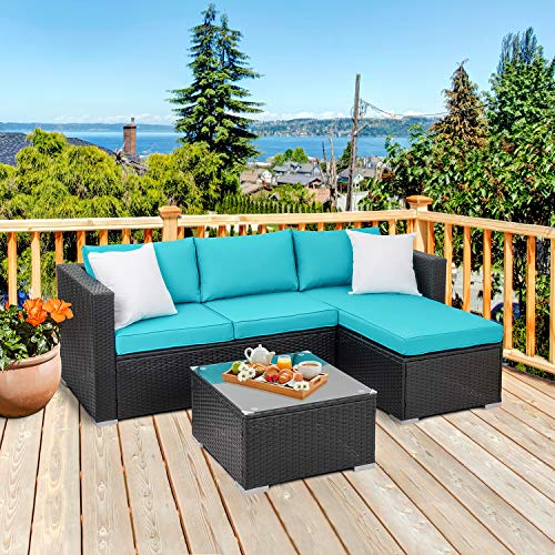 Walsunny Outdoor Rattan Sectional Sofa- Patio Wicker Furniture Set (Blue)