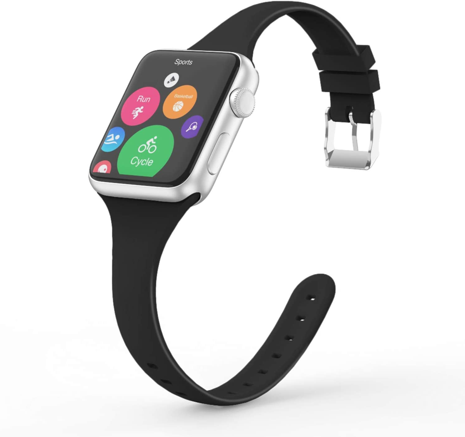 Vinyl Etchings Slim Band Compatible with Apple Watch 40mm 38mm 44mm 42mm for Women Men, Thin Narrow Replacement Soft Silicone Sport Strap for iWatch Series 6 5 4 3 2 1 SE (Black, 42/44MM)