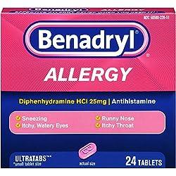 Benadryl Ultratab Antihistamine Allergy Medicine Tablets, 24 Count