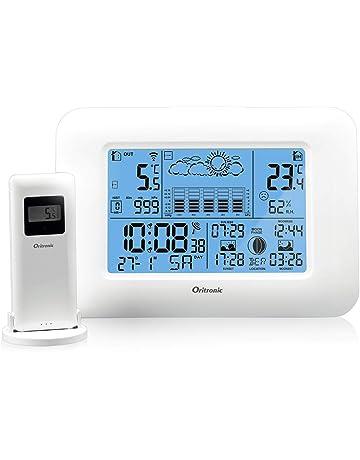 f733d7703 Oritronic Stazione Meteo, Indoor Outdoor Monitor Temperatura Termometro  Digitale Igrometro Sensore Remoto, Bianco