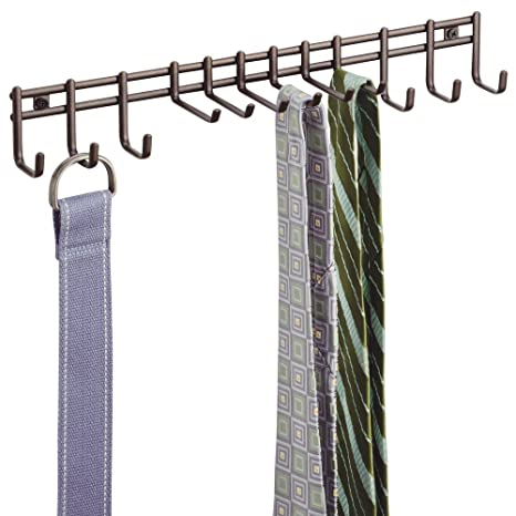 861790eb7515 mDesign porte-cravates – rangement foulard pour écharpes et foulards – porte -ceinture pour