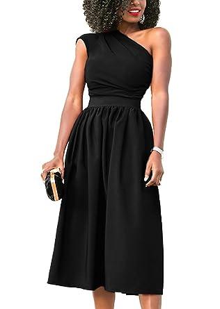 Kameson Womens Formal Single Shoulder Midi Cocktail Prom Dresses