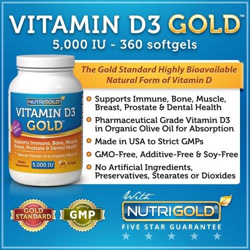 La vitamine D3 5000 UI, 360 gélules Mini (sans OGM, sans conservateur, sans soja, USP grade Naturel vitamine D dans l'huile d'olive bio)