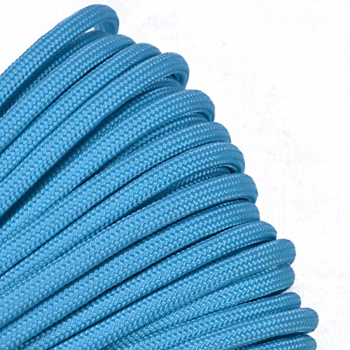 Bored Paracord - 1', 10', 25', 50', 100' Hanks & 250', 1000' Spools of Parachute 550 Cord Type III 7 Strand Paracord Well Over 300 Colors - Turquoise - 1 Foot