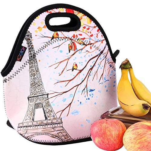 Bag Case Purse - iColor Effiel Tower Insulated Neoprene Fashion Lunch Picnic Container Bag Box Tote Outdoor Travel Cooler Waterproof Soft Bag lunchbox Handbag Case For Boys Girls School Office Work Hot YLB-141