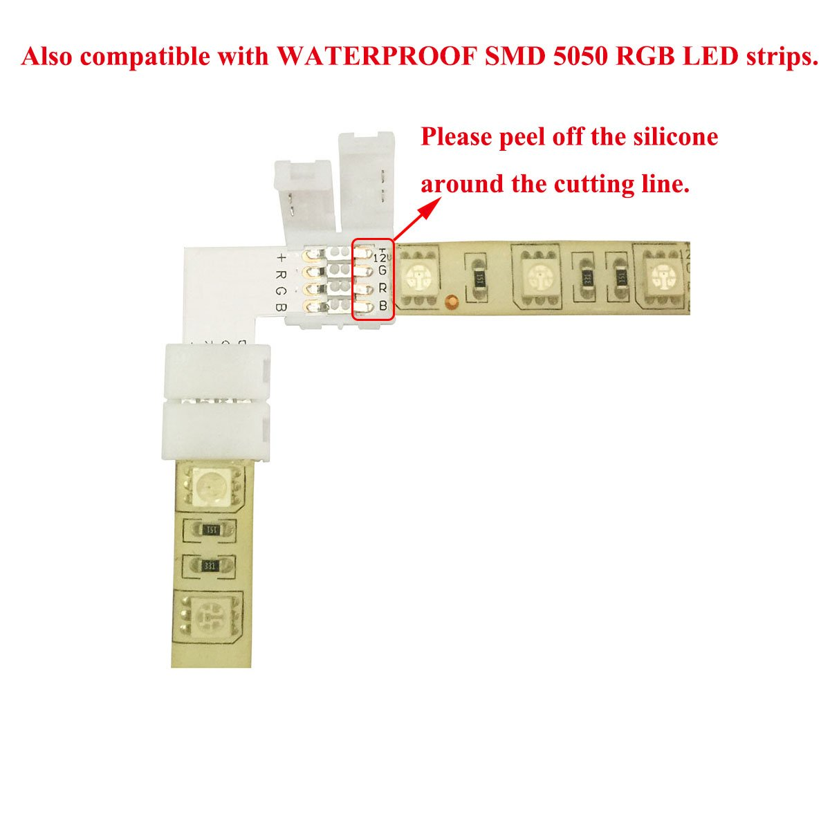 Tronicspros 4pin L Shape Rgb 5050 Led Strip Connector Tape Right Wiring Diagram 8 Rgbw Series Angle Corner Flex Ribbon Rope Light Adapter For Smd Flexible