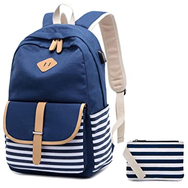 ee98e75a6d Canvas Backpack School Bags for Girls College Laptop Backpack with USB  Charging Port Student Rucksack Travel