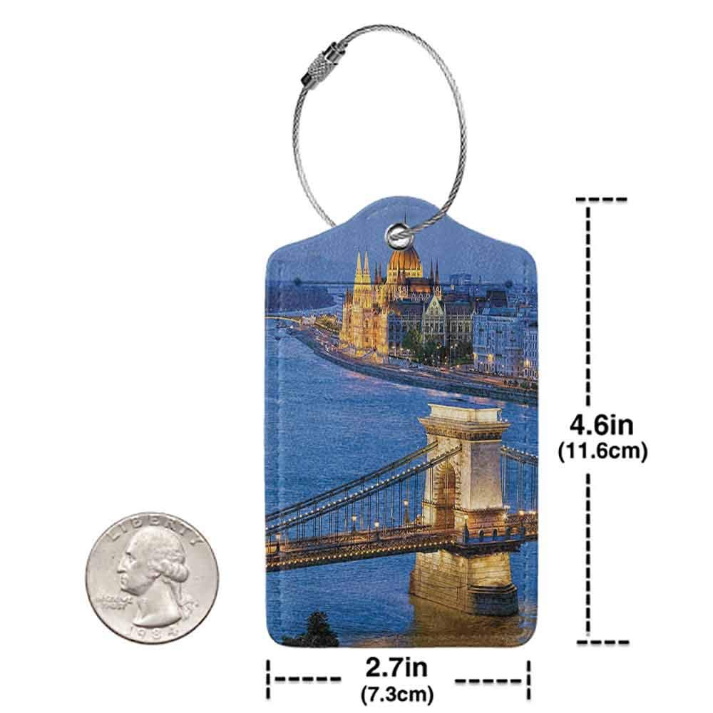 Personalized luggage tag European Cityscape Decor River of Budapest at Evening Illuminated Bridge Hungarian Culture Heritage Decor Easy to carry Multi W2.7 x L4.6