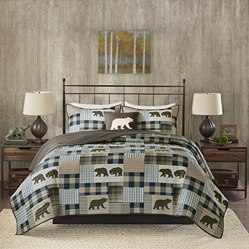 4 Piece Oversized Brown Blue White King/ Cal King Quilt Set, Patchwork Pattern Bedding Tartan Plaid Themed Checkered Bear Mountain Winter Cozy Stylish Cabin Lodge Cottage Trendy Animal, Polyester by OSVT