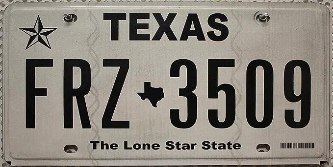 Amazon.es: Estados Unidos Matrícula Texas # US Matrícula The Lone Star State # Tipo (farbgebung) Negro de color blanco # coche Cartel de chapa