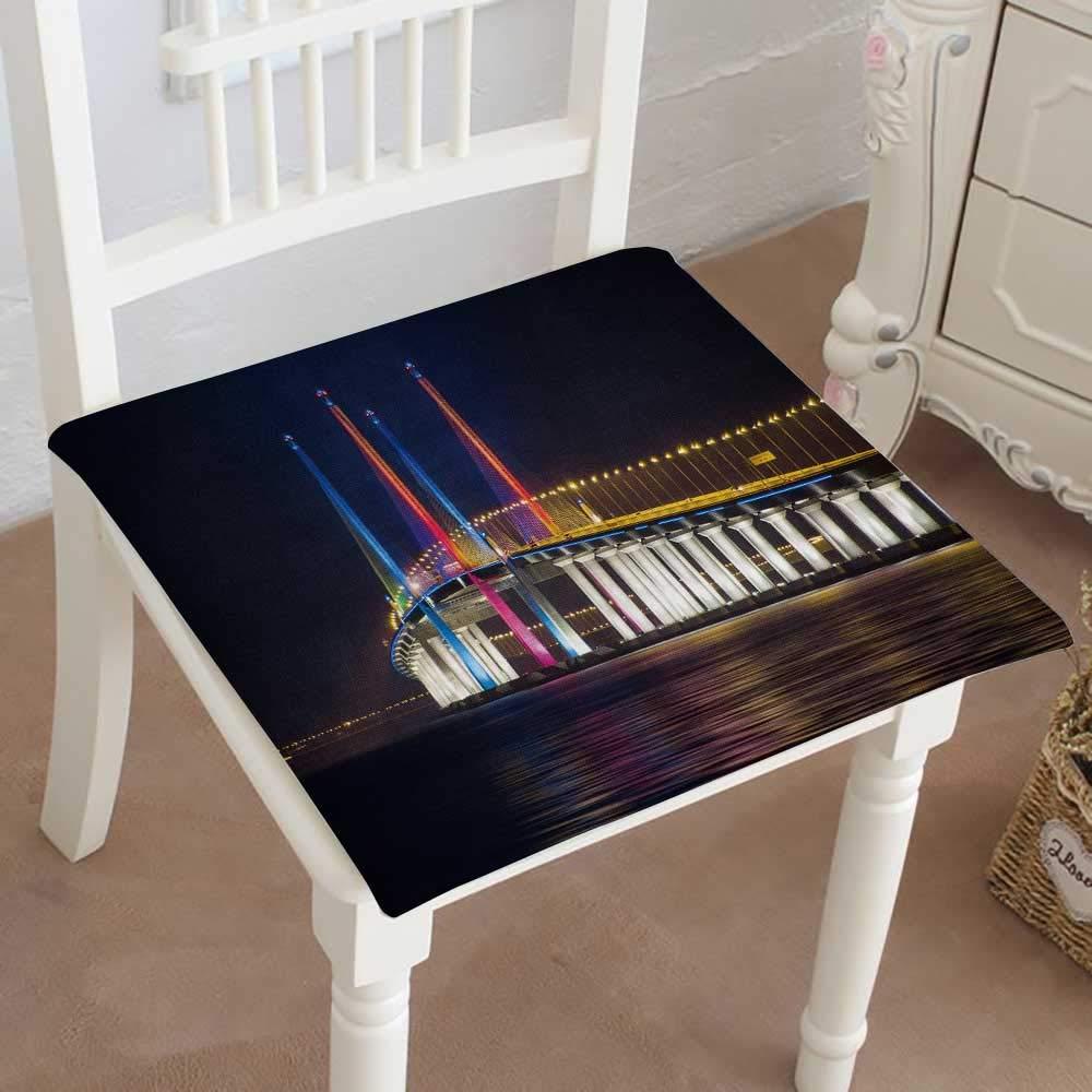 Mikihome クラシック装飾チェアパッドシート セカンドペナングブリッジビュー 好評 ライトアップ ジョージタウンペナング マレーシアクッション 32\ 32