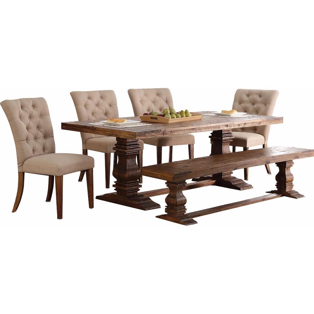 Amazon.com: Nuremberg rústico País 7 pieza sólida mesa de ...