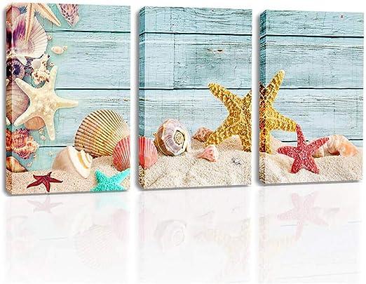 Ocean Starfish Sea Shell Beach Bathroom # 2 Wall Picture Black Framed