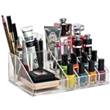 Inovera 16 Compartment Cosmetic Makeup Jewellery Lipstick Storage Organiser Box, Transparent