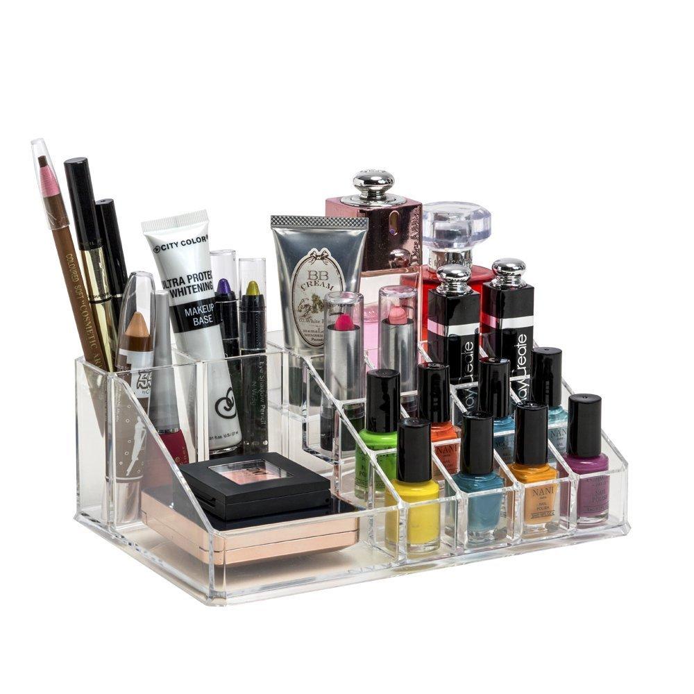 INOVERA (LABEL) 16 Compartment Cosmetic Makeup Jewellery Lipstick Storage Organiser Holder Box, 22Lx13Wx8H