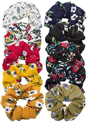 Cubaco 10 Pack Hair Scrunchies Women Flower Chiffon Hair Scrunchy Hair Bobbles Scrunchy Hair Ties Ponytail Holder for Girls Women, 10 Colors by Cubaco