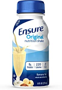 Ensure Original Nutrition Shake with 9 grams of protein, Meal Replacement Shakes, Banana Nut, 8 fl oz, 24 Count