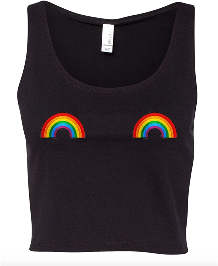 A Dash of Chic Rainbow Pride Pastie Patch Black Crop Top Tank