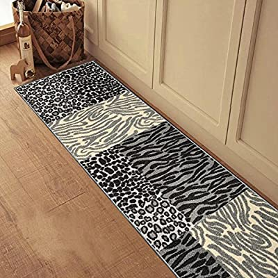 """Rubber Backed 20"""" x 59"""" Grey Animal Print Patchwork Runner Non-Slip Rug Kitchen Dining Living Hallway Bathroom Pet Entry Rugs RAN2120-25 - Actual Size: 20"""" x 59"""" - COLORS: Grey, Ivory, Black & Silver Machine woven loop texture with 100% nylon pile for long lasting quality with vivid colors that won't fade away Efficient LOW PILE (1/4"""") which does not add bulk to your floor and great fit under most of the doors - runner-rugs, entryway-furniture-decor, entryway-laundry-room - 61TQb18WUrL. SS400  -"""