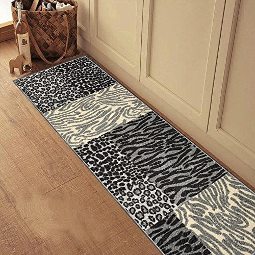 "61TQb18WUrL - Rubber Backed 20"" x 59"" Grey Animal Print Patchwork Runner Non-Slip Rug Kitchen Dining Living Hallway Bathroom Pet Entry Rugs RAN2120-25"
