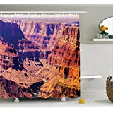 House Decor Shower Curtain by Ambesonne, Grand Canyon in Arizona with Base Elevations North American Sublime Tribal Landscape, Fabric Bathroom Decor Set with Hooks, 70 Inches, Brown